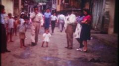 Poor streets of San Juan Puerto Rico - 3109 vintage film home movie Stock Footage