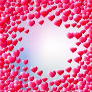 Valentines Day background with scattered gem hearts Stock Illustration
