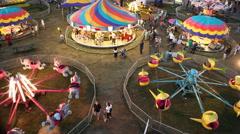 Amusement Park Fair Carnival Rides - stock footage
