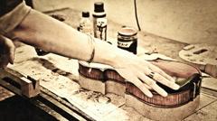 Vintage music repair lab Stock Footage