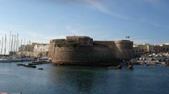 Angevine-Aragonese Castle in Gallipoli, Italy - stock footage