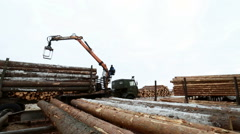 View of man controls crane for loading logs Stock Footage