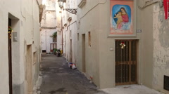 Characteristic small street in Gallipoli, Italy Stock Footage