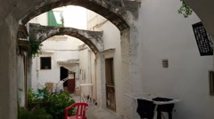 Traditional courtyard in the historic centre of Gallipoli, Italy Stock Footage