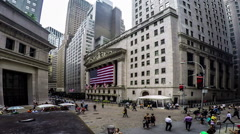 Timelapse of people at New York Stock Exchange square Stock Footage