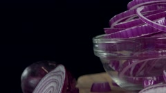 Red Onion Rings (seamless loopable, 4K) Stock Footage