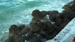 Caribbean Wave Hitting Rocks PAN Stock Footage