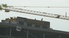 View of workers constructing a building in Cluj-Napoca Stock Footage