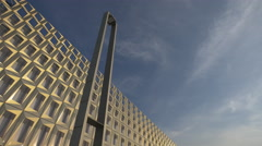 Low angle view of the Polyvalent Hall of Cluj-Napoca Stock Footage