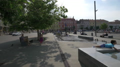 Resting in Union Square, Cluj-Napoca Stock Footage