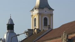 View of Evangelical church and Hotel Melody towers in Cluj-Napoca - stock footage