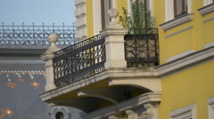 Mosaic roof and a balcony in Cluj-Napoca Stock Footage