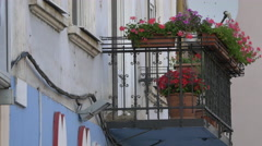 Balcony with pink flowers in Cluj-Napoca Stock Footage