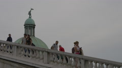 Walking on Ponte degli Scalzi in Venice Stock Footage