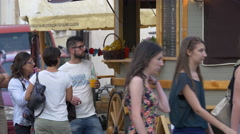 Walking by a food carriage in Cluj-Napoca Stock Footage