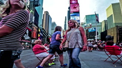 Timelapse of the visitors at Times Square at sunset, Manhattan Stock Footage