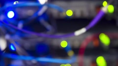 Modern Data Servers With Cables And Flashing LED Lights Tilt Down - stock footage