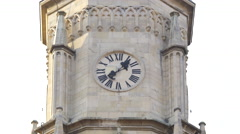 View of the clock tower of Saint Michael church in Cluj-Napoca - stock footage