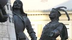 Statues at Matthias Corvinus Monument, Cluj-Napoca Stock Footage