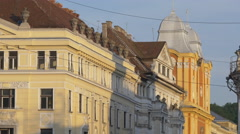 Buildings on University street, Cluj-Napoca Stock Footage