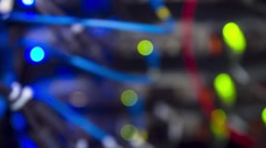 Modern Data Servers With Cables And Flashing LED Lights Tilt Up - stock footage