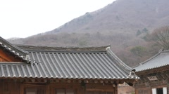 Tiled roof of old temple Stock Footage