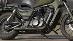 View of a motorcycle parked in Cluj-Napoca Stock Footage
