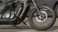 Close up view of a motorcycle parked in Cluj-Napoca Stock Footage