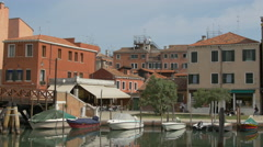 Fondamenta de L' Arzere with boats and old building in Venice Stock Footage