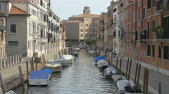 People walking along Rio dei Tolentini in Venice Stock Footage