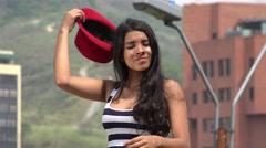 Teen Girl Posing with red Hat Stock Footage