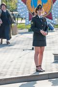Young policewoman - sergeant protects an order Stock Photos