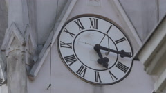 The clock of St Peter's Church in Cluj-Napoca Stock Footage