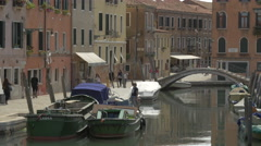 View of a canal on a sunny afternoon in Venice Stock Footage