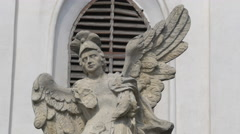 Sculpture at the entrance gate of St Peter's Church in Cluj-Napoca Stock Footage