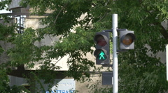 Pedestrian traffic light, Cluj-Napoca Stock Footage