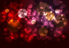 Stock Illustration of Purple and red background with blurred hearts and bokeh effects