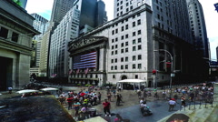Timelapse of people at New York Stock Exchange square, Manhattan - stock footage