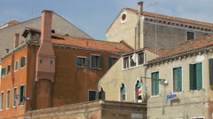 Stock Video Footage of Buildings with chimneys on Calle del Cristo in Venice