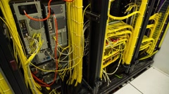 Back Side Of Modern Working Data Center - Tilt Up Stock Footage