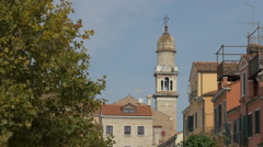 Chiesa di San Pantalon tower with dome in Venice Stock Footage