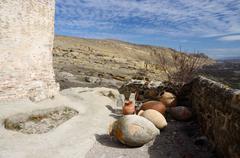 Ancient jars  in cave town Uplistsikhe, Georgia, Caucasus, Asia Stock Photos