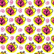 briht butterfly and heart vector seamless pattern - stock illustration