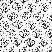 butterfly heart vector seamless pattern - stock illustration