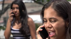 Teen Girls Arguing on Cell Phone Stock Footage