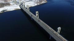 4k aerial boarder bridge over river nice flight Stock Footage