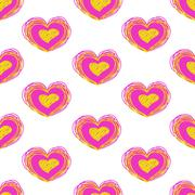 bright color heart vector seamless pattern - stock illustration