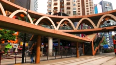 HONG KONG -  Street view with double decker tram passing by. Causeway bay. 4K Stock Footage