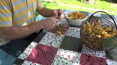 Peasant man hands clean chanterelle mushrooms with knife on table. 4K Stock Footage