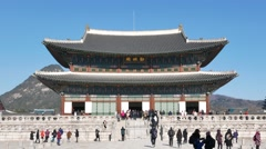 Geunjeongjeon, the main throne hall of Gyeongbokgung Stock Footage